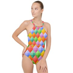 Colorful Geometric High Neck One Piece Swimsuit