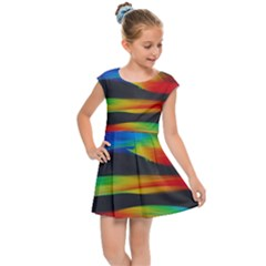 Abstarct Pattern Colorful Background Kids  Cap Sleeve Dress by Wegoenart