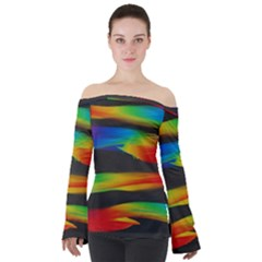 Abstarct Pattern Colorful Background Off Shoulder Long Sleeve Top