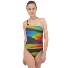 Abstarct Pattern Colorful Background Classic One Shoulder Swimsuit