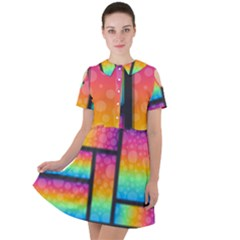 Background Colorful Abstract Short Sleeve Shoulder Cut Out Dress  by Wegoenart
