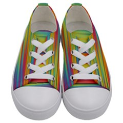 Colorful Background Pattern Kids  Low Top Canvas Sneakers
