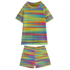 Colorful Background Pattern Kids  Swim Tee And Shorts Set by Wegoenart