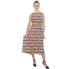 Background Abstract Colorful Midi Tie Back Chiffon Dress