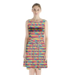 Background Abstract Colorful Sleeveless Waist Tie Chiffon Dress
