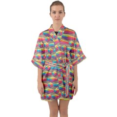 Background Abstract Colorful Quarter Sleeve Kimono Robe