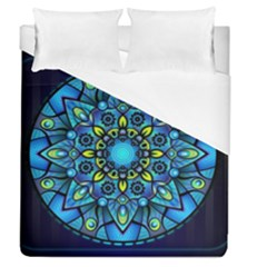 Mandala Blue Abstract Circle Duvet Cover (queen Size)