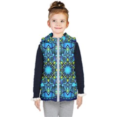 Mandala Blue Abstract Circle Kids  Hooded Puffer Vest by Wegoenart