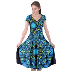 Mandala Blue Abstract Circle Cap Sleeve Wrap Front Dress