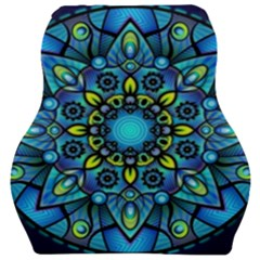 Mandala Blue Abstract Circle Car Seat Velour Cushion