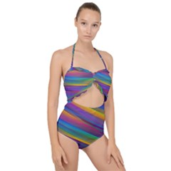 Colorful Background Scallop Top Cut Out Swimsuit by Wegoenart