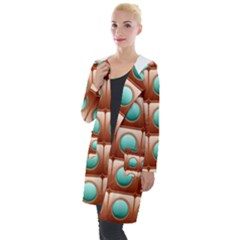 Abstract Background Circle Square Hooded Pocket Cardigan