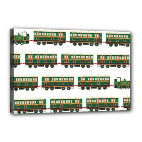 Trains Pattern Transportation Canvas 18  X 12  (stretched)