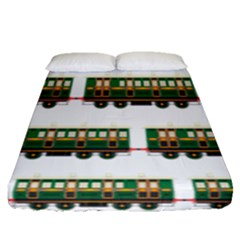 Trains Pattern Transportation Fitted Sheet (queen Size)