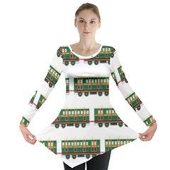 Trains Pattern Transportation Long Sleeve Tunic