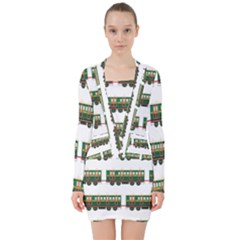 Trains Pattern Transportation V Neck Bodycon Long Sleeve Dress