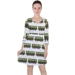 Trains Pattern Transportation Ruffle Dress