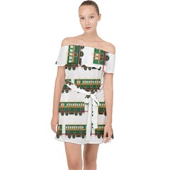 Trains Pattern Transportation Off Shoulder Chiffon Dress
