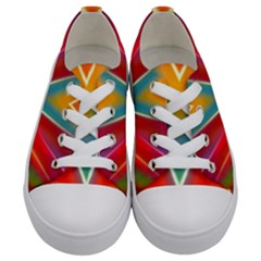 Colorful Background Art Pattern Kids  Low Top Canvas Sneakers