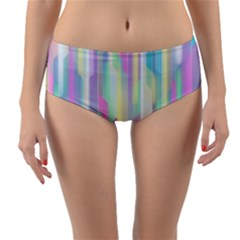 Background Abstract Pastels Reversible Mid Waist Bikini Bottoms