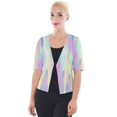Background Abstract Pastels Cropped Button Cardigan