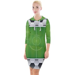 Background Sports Soccer Football Quarter Sleeve Hood Bodycon Dress by Wegoenart