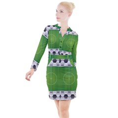 Background Sports Soccer Football Button Long Sleeve Dress