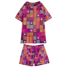 Abstract Background Colorful Kids  Swim Tee And Shorts Set
