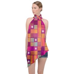 Abstract Background Colorful Halter Asymmetric Satin Top