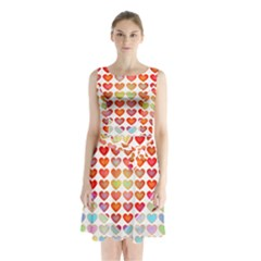 Valentine Valentines Day Card Love Sleeveless Waist Tie Chiffon Dress