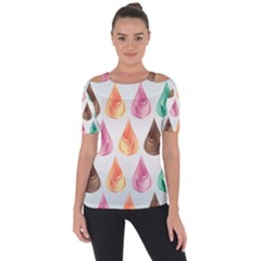 Background Colorful Abstract Shoulder Cut Out Short Sleeve Top