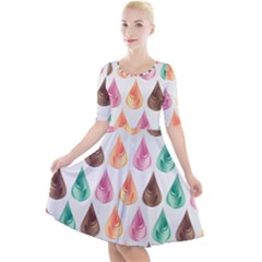 Background Colorful Abstract Quarter Sleeve A Line Dress