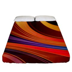 Abstract Colorful Background Wavy Fitted Sheet (king Size)