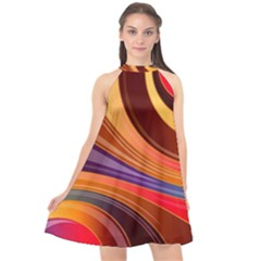 Abstract Colorful Background Wavy Halter Neckline Chiffon Dress