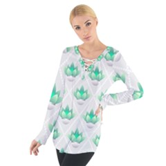 Plant Pattern Green Leaf Flora Tie Up Tee by Wegoenart
