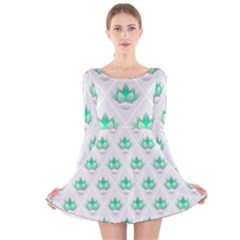 Plant Pattern Green Leaf Flora Long Sleeve Velvet Skater Dress
