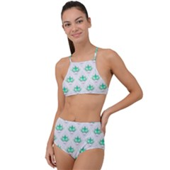Plant Pattern Green Leaf Flora High Waist Tankini Set