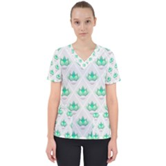 Plant Pattern Green Leaf Flora Women s V Neck Scrub Top by Wegoenart