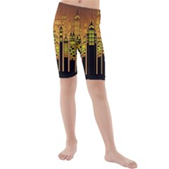 Buildings Skyscrapers City Kids  Mid Length Swim Shorts