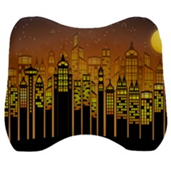 Buildings Skyscrapers City Velour Head Support Cushion