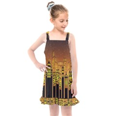 Buildings Skyscrapers City Kids  Overall Dress