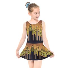 Buildings Skyscrapers City Kids  Skater Dress Swimsuit