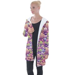 Abstract Background Circle Bubbles Longline Hooded Cardigan by Wegoenart