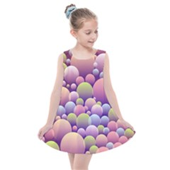 Abstract Background Circle Bubbles Kids  Summer Dress