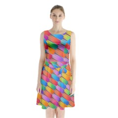 Colorful Background Abstract Sleeveless Waist Tie Chiffon Dress