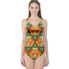 Background Triangle Abstract Golden One Piece Swimsuit