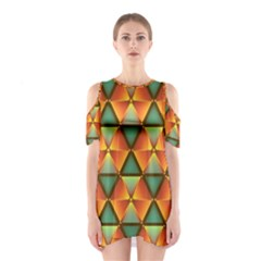 Background Triangle Abstract Golden Shoulder Cutout One Piece Dress