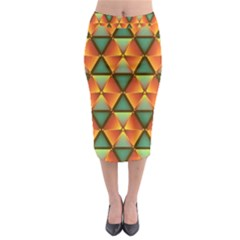 Background Triangle Abstract Golden Midi Pencil Skirt