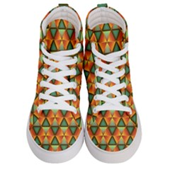 Background Triangle Abstract Golden Men s Hi Top Skate Sneakers