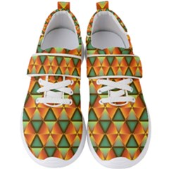 Background Triangle Abstract Golden Men s Velcro Strap Shoes by Wegoenart